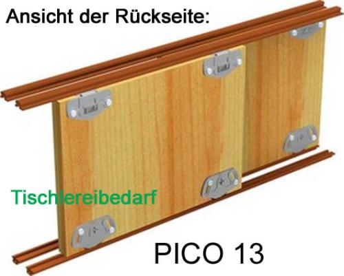 Schiebetürbeschlag unten  PICO 13B-200cm - weiss - für 2 Türen Öffnungsbreite bis 200 cm ...