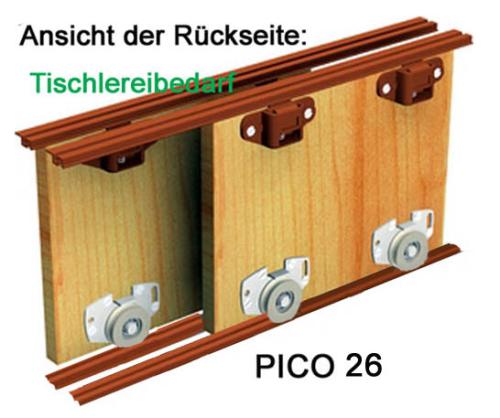 Schiebetürbeschlag  PICO 26B-200cm - weiss - für 2 Türen Öffnungsbreite bis 200 cm ...