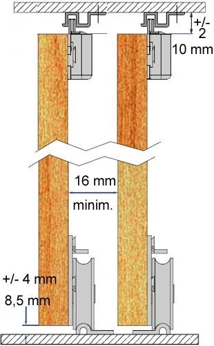Schiebetürbeschlag  PICO 55M-200cm - braun - für 2 Türen Öffnungsbreite bis 200 cm ...