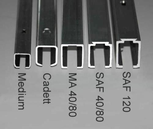 Schiebetürbeschlag außenbereich  SAF 40D-240 cm für Deckenbefestigung mit kleiner Einzugsdämpfung