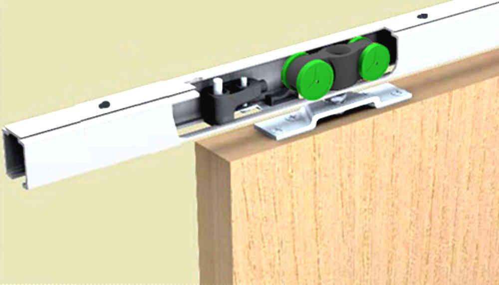 Schiebetürbeschlag für schranktüren  SAF 40D-240 cm für Deckenbefestigung mit kleiner Einzugsdämpfung