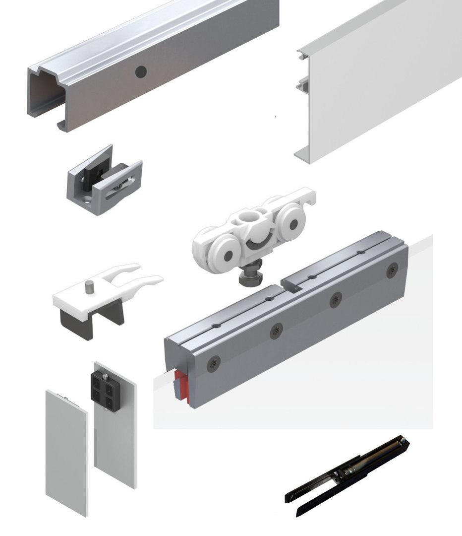 Schiebetürbeschlag für schranktüren  73WG-300BA1S2 Schiebetürbeschlag 2-flgl Glas 300 cm SmartStop ...